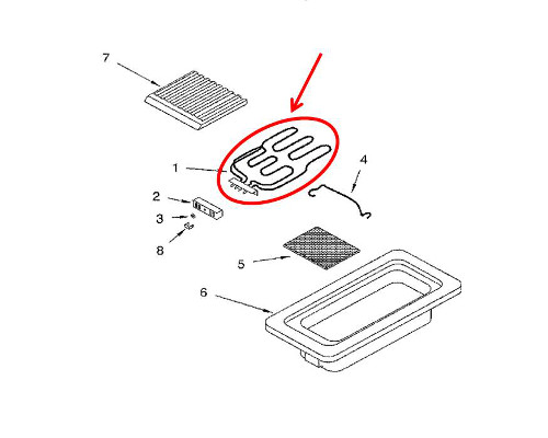 Whirlpool Part# WP5700M426-60 Grill/Heating Element (OEM)