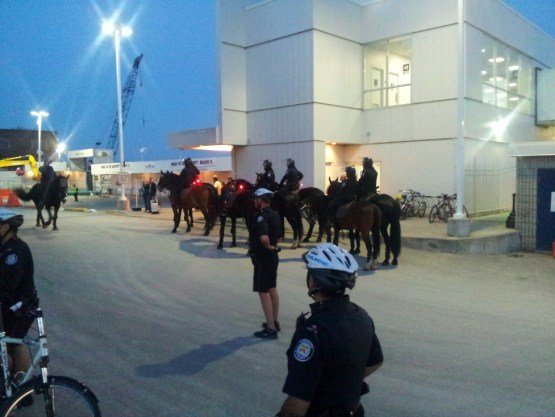 Horse cops waiting for the arrival of the rabble...