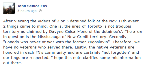 john-fox-davyn-calfchild-davin-ouimet-criticism-remembrance-day-2013-flag-arrested