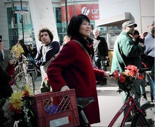 Olivia Chow marched with her bicycle and stolen milk crate...