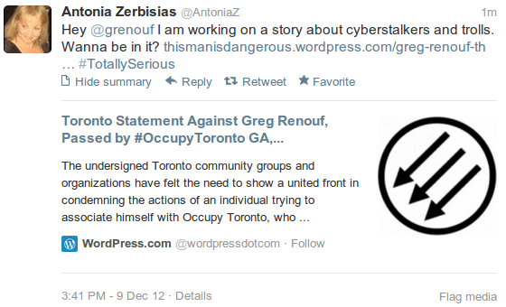 Antonia Zerbisias of the Toronto Star threatens me...