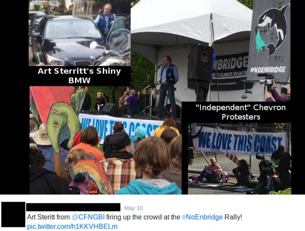 art-steritt-we-love-this-coast-banner-chevron-protesters