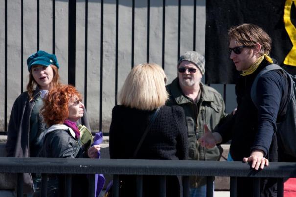 Zach Ruiter chatting with Cheri DiNovo...