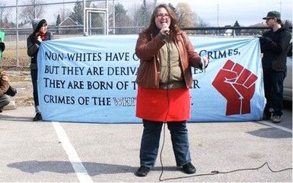 Leah Henderson at a Caledonia protest in March, 2010