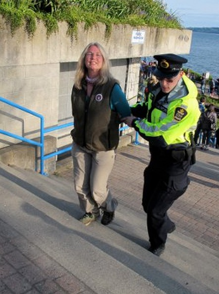 Lynne Quarmby being arrested in 2012