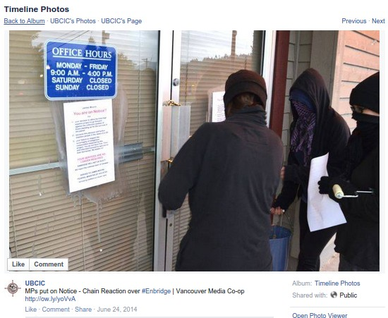 Picture of BC activists breaking the law found on BCUIC Facebook page