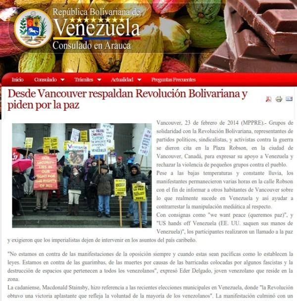 Screenshot from Venezuelan consulate in Arauca, Columbia