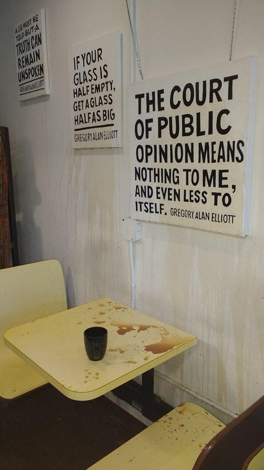 Vandal attacks Gregory Alan Elliott's art exhibit