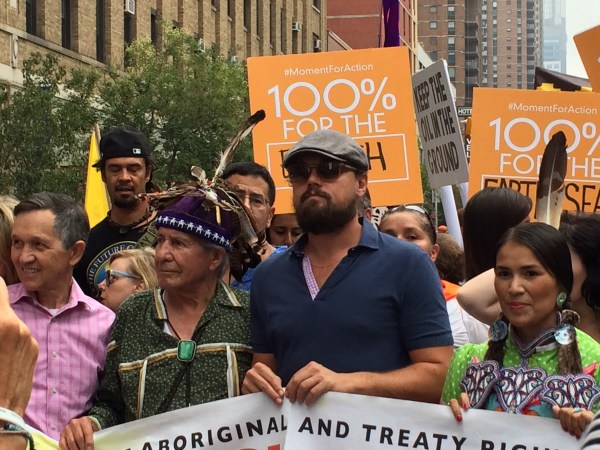 Oren Lyons & Leonardo DiCaprio at the 2014 NYC Peoples Climate March