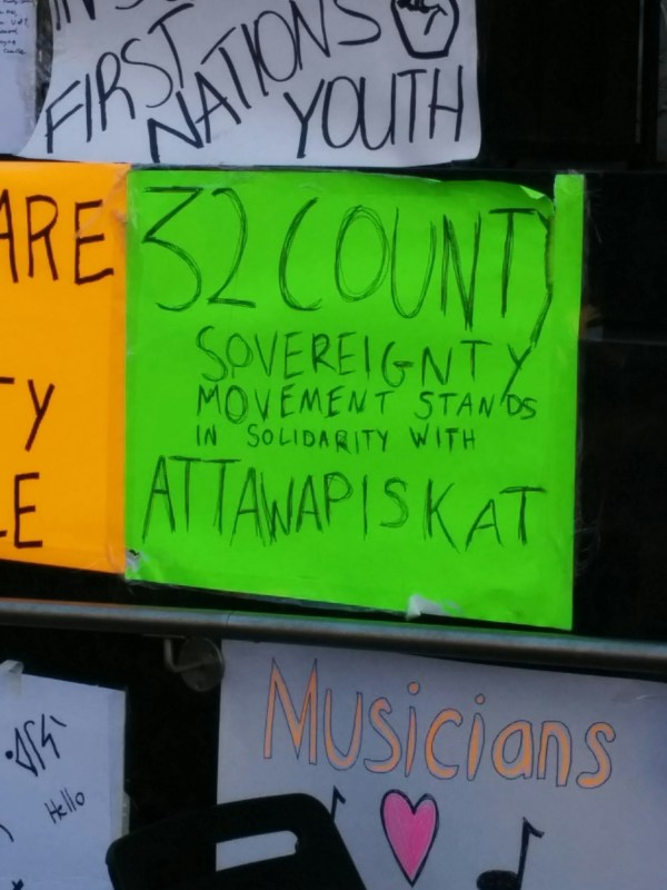 Sign from Irish terrorist group at #OccupyINAC Toronto