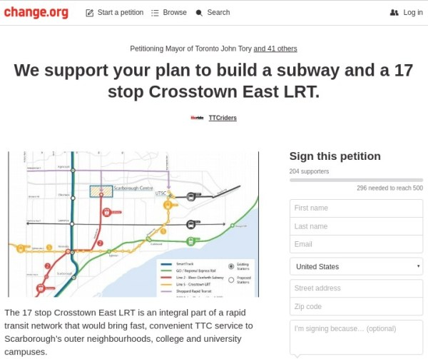 We want subways John Tory!