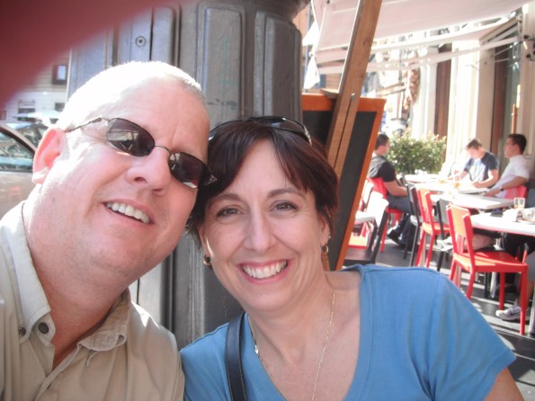 Us at a cafe in Rome