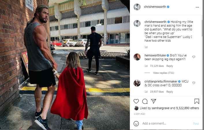 351958 8018407 updates 'Thor' actor Chris Hemsworth says his son wants to become 'Superman'