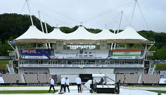 The pitch remained under cover throughout the day, on June 18, 2021. — Twitter/ICC