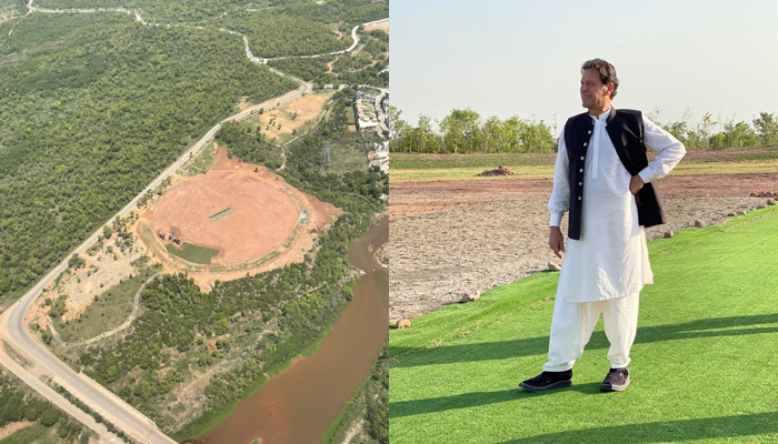 (L to R) The ground that is being established at Bani Gala and Prime Minister Imran Khan can be standing there. — Twitter/ImranKhanPTI