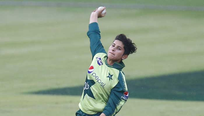 A picture of Nadia Dar bowling. Photo: PCB