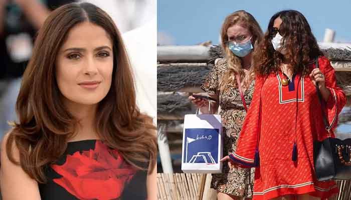 Salma Hayek looks stunning in red Kurti as she soaks up the sun at a beach