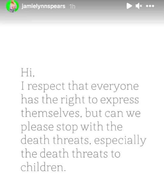 Britney Spears sister Jamie Lynn and her children receive death threats