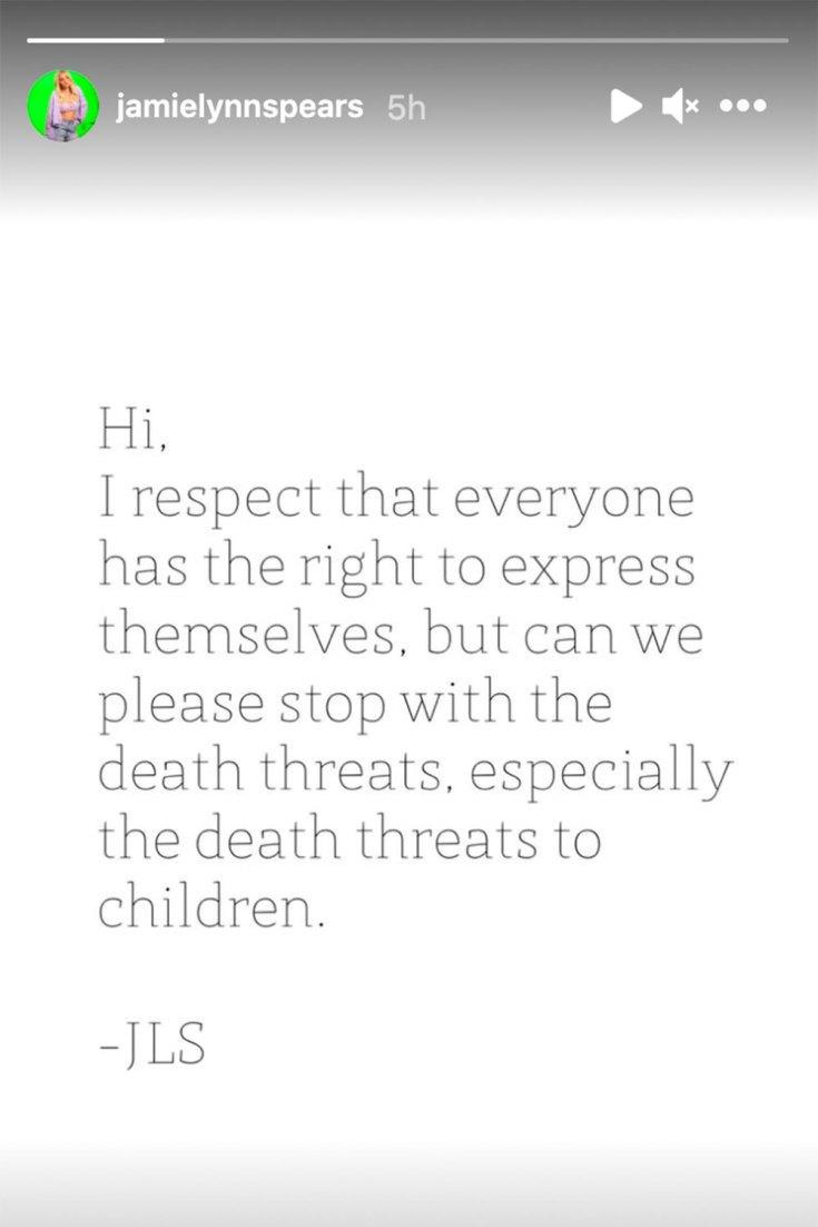 Jamie Lynn Spears hits back at death threats: 'Stop it!'
