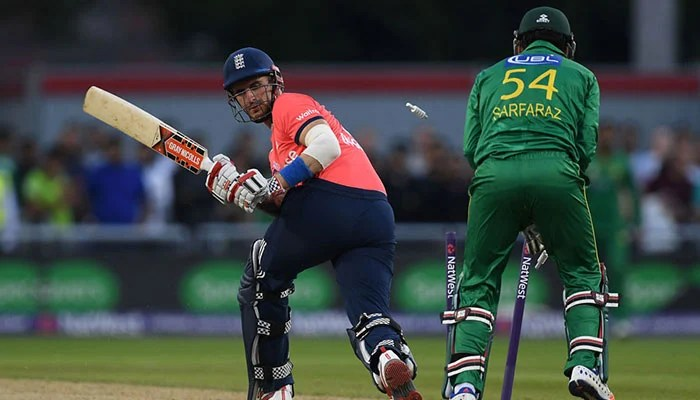 Alex Hales was bowled attempting to sweep, England v Pakistan, only T20, Old Trafford, September 7, 2016. Photo: AFP