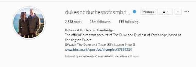 کیٹ مڈلٹن ، پرنس ولیم نے انسٹاگرام پر 13 ملین فالوورس کو مارا جب پرنس جارج 8 سال کے ہو گئے ہیں