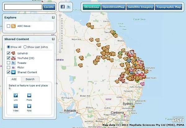 Mashup od Esri Australia pomáhá sledovat místní povodně