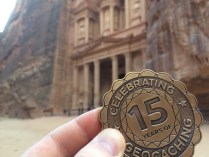 15 Years of Geocaching trackable geocoin at Petra
