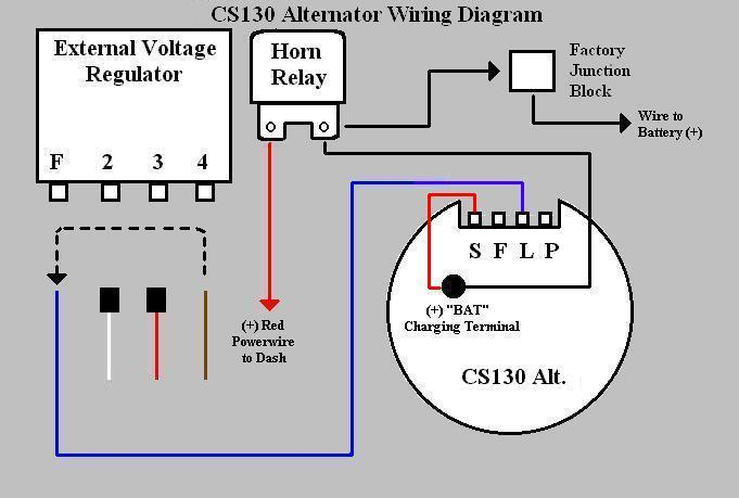 wiring diagram for alternator with external voltage regulator