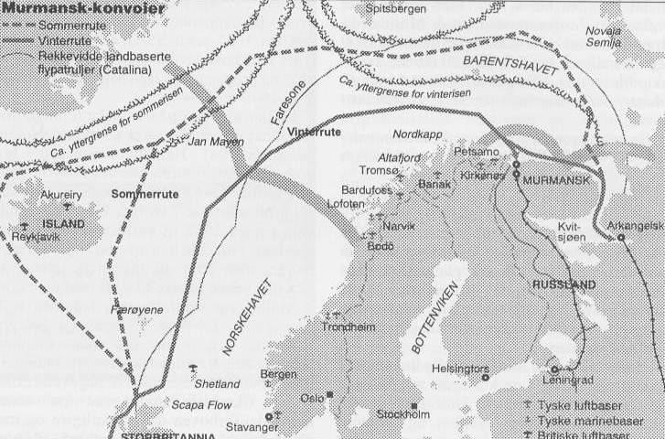 [Die Routen der alliierten Geleitzüge nach Murmansk]
