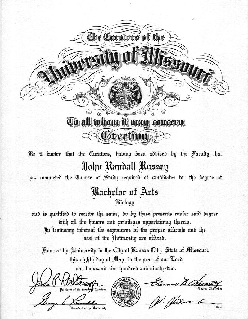 Bachelor of Biology (UMKC)