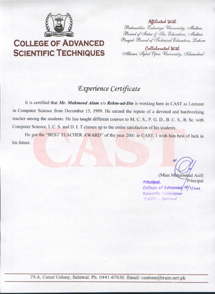 Sample experience certificate college lecturer images experience certificate format for lecturer doc image collections experience certificate sample lecturer image collections sample experience yadclub Image collections