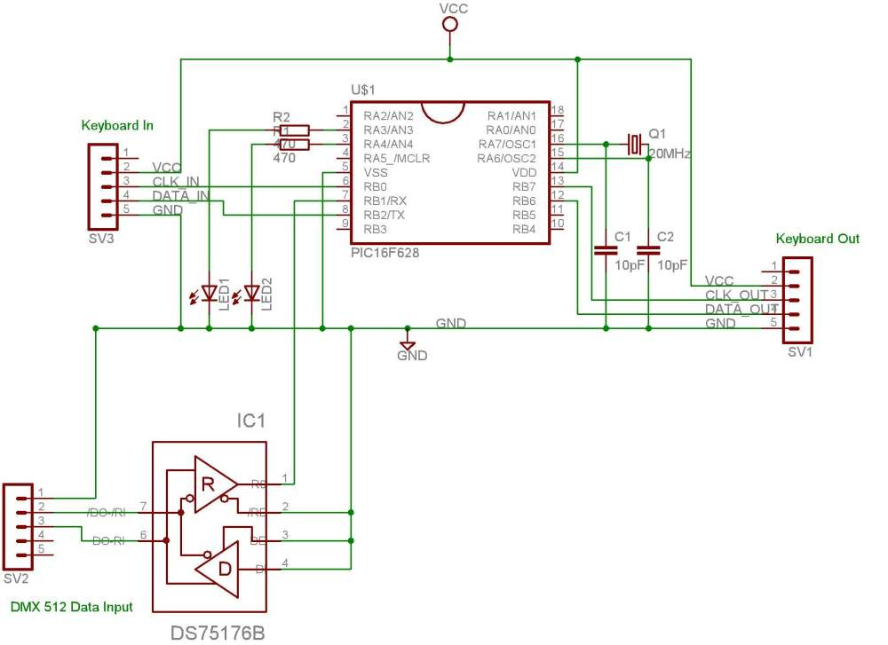 medium resolution of dmx pc keyboard interface computer keyboard circuit diagram computer keyboard wiring diagram