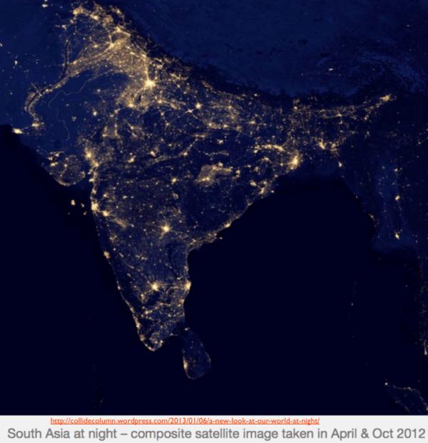 Asia World Map Night Lights