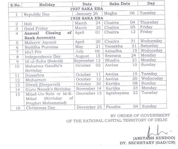 Delhi Government Holiday List 2016