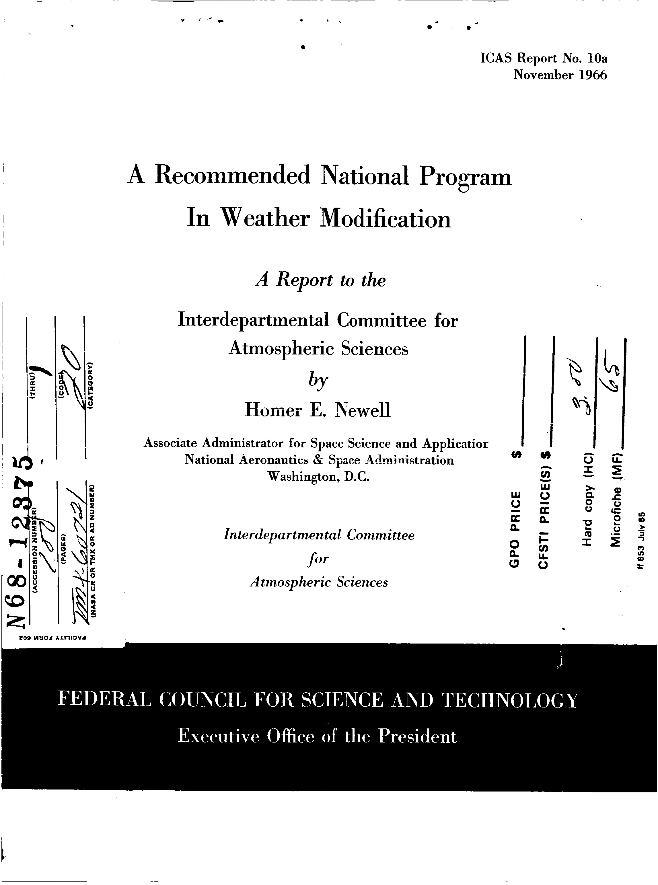 1966 US Government Document Outlines National Weather