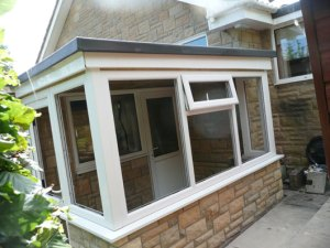 porch built and roofed in GRP