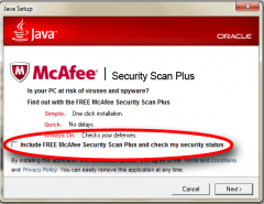 Java Update ad for McAfee Security Scan