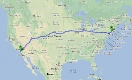 california route  from Google Maps