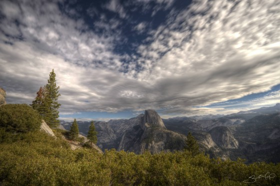 Yosemite National Park Half Dome from Glacier Point Under Cirrus Clouds-w1920-h1400