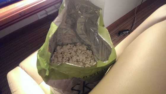 Skinny Pop popcorn, showing the popcorn and air I bought!