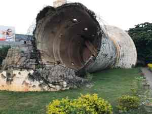 Blown up water tower