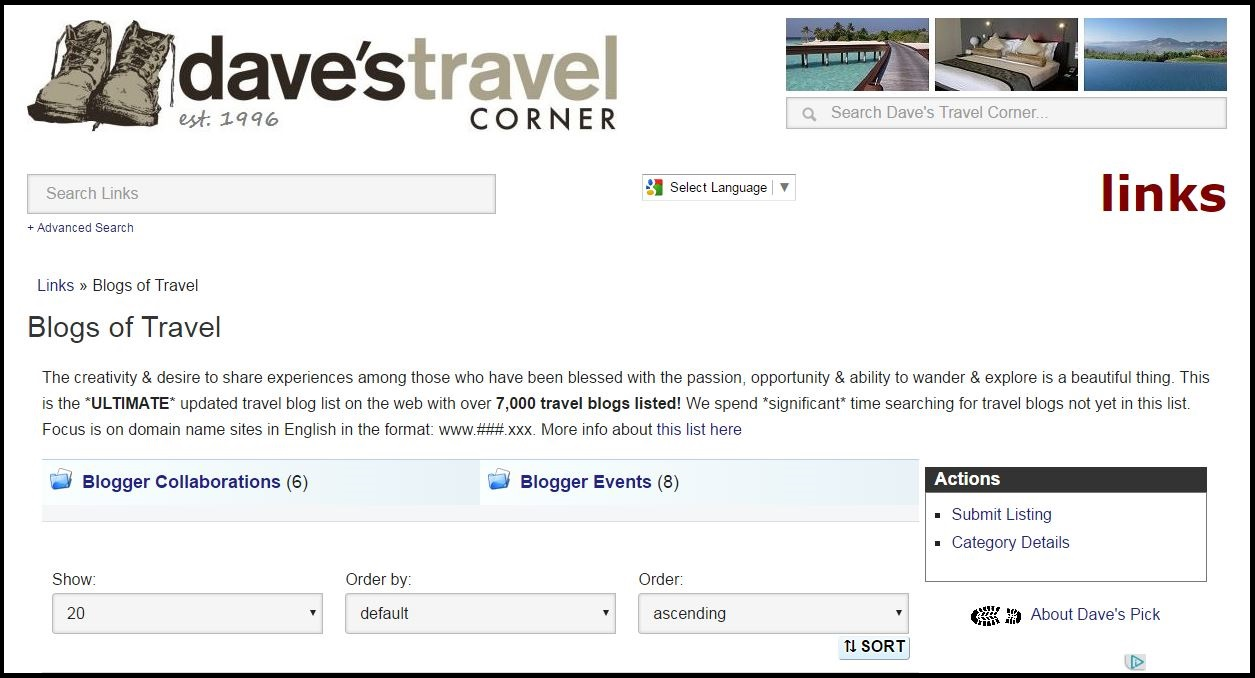 Screenshot from http://www.davestravelcorner.com/links/blogs-of-travel/ Accessed December 4, 2016