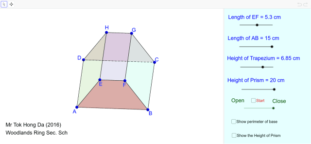 Net and Surface Area of Trapezoidal Prism – GeoGebra
