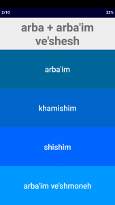 Hebrew Number Whizz - Arithmetic Quiz in Transliterated Mode