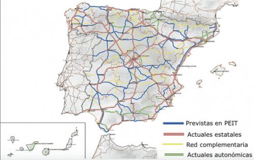 Autovías planificadas en el PEIT