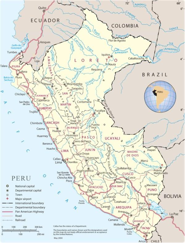 Map of Peru Lima Machu Picchu