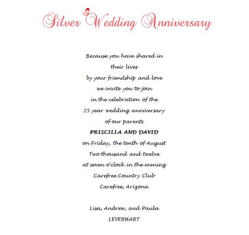 Wedding Free Suggested Wording By Theme Geographics Silver Anniversary Invitations Stationery