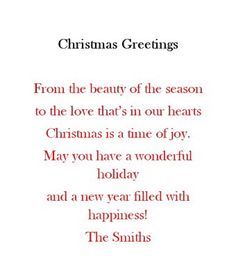 christmas free suggested wording