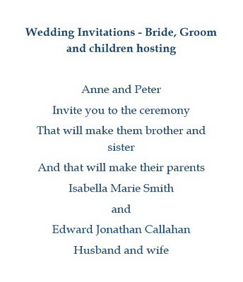 Wedding Invitations Bride Groom Children Hosting Wording
