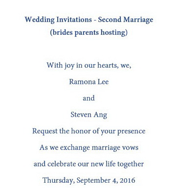 Wedding Invitations Second Marriage
